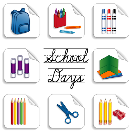 School Days Stickers for back to school, scrapbooks, preschool, daycare, arts, crafts, literacy projects includes backpack, colored pencils, sharpener, folders, markers, crayons, scissors and cursive lettering isolated on white background