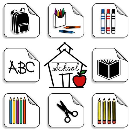 maestra preescolar: Schoolhouse Pegatinas para volver a la escuela, los libros de recuerdos, preescolar, guardería, artes, artesanías, proyectos de alfabetización incluye mochila, lápices de colores, libros, marcadores, lápices de colores, tijeras ABC, manzana para el profesor y las letras cursivas aislado en fondo blanco Vectores