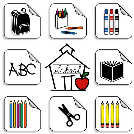 Schoolhouse Stickers for back to school, scrapbooks, preschool, daycare, arts, crafts, literacy projects includes backpack, colored pencils, book, markers, crayons, scissors  ABC, apple for the teacher and cursive lettering isolated on white background   Vector
