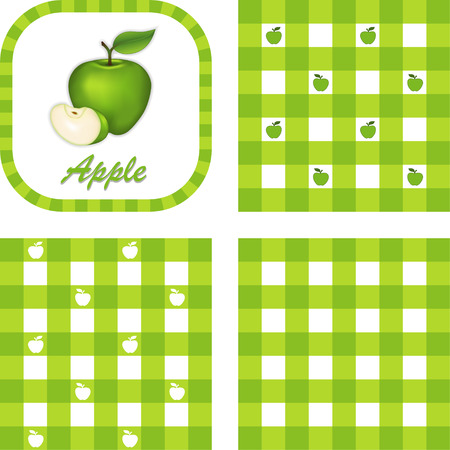 gr�ne apfel: Green Apple, Etikett, �berpr�fen Gingham nahtlose Muster Farbfelder in 3 Arten Illustration