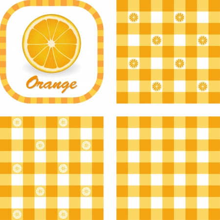 Orange, Label, Gingham check seamless pattern swatches in 3 styles Stock Vector - 22447274