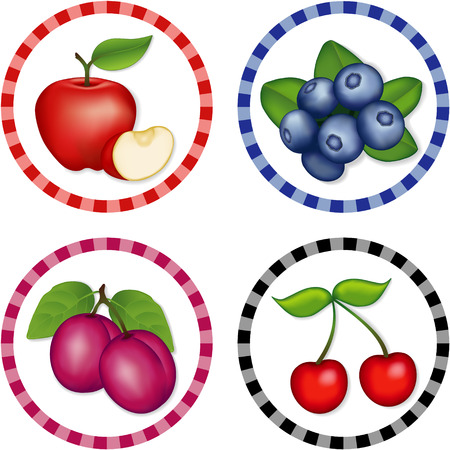 Apples, Blueberries, Cherries, Plums; Fresh orchard fruits in round gingham check labels isolated on white background