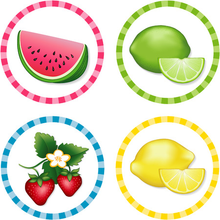Watermelon, Limes, Strawberries, Lemons; Fresh summer fruits in round gingham check label tags isolated on white background Stock Vector - 22898813