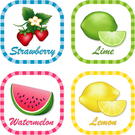 Watermelon, Lime, Strawberry, Lemon; Fresh summer fruits in square gingham check tags with text labels isolated on white background