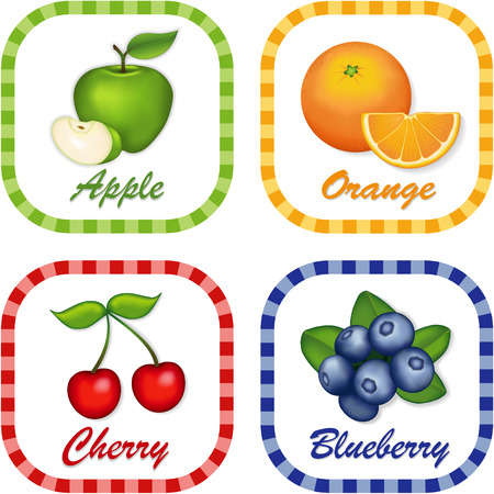 green apple slice: Green Apple, Orange, Cherry, Blueberry; Fresh fruits in square gingham check tags with text labels isolated on white background   Illustration