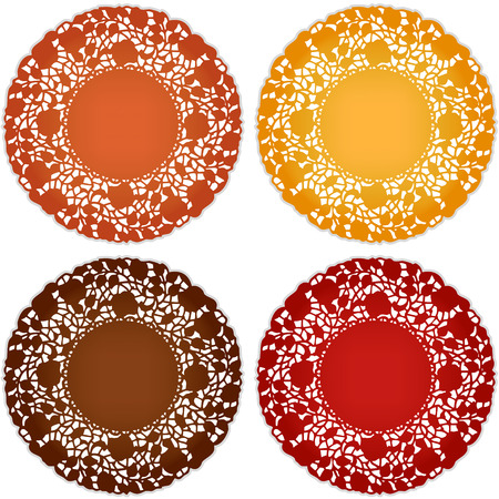 Vintage lace doily place mats for Thanksgiving, harvest celebrations, scrapbooks, setting table, cake decorating in pumpkin, goldenrod, chestnut, persimmon isolated on white background  Vectores