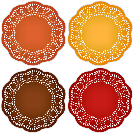 Retro lace doily place mats for Thanksgiving, harvest celebrations, scrapbooks, setting table, cake decorating in pumpkin, goldenrod, chestnut, persimmon isolated on white background