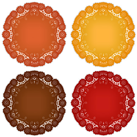 persimmon: Vintage lace doily place mats for Thanksgiving, harvest celebrations, scrapbooks, setting table, cake decorating in pumpkin, goldenrod, chestnut, persimmon isolated on white background  Illustration