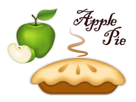 pişmiş: Beyaz arka plan Sweet, tart tatlı tedavi izole Granny Smith Green Apple Pie, Çizim