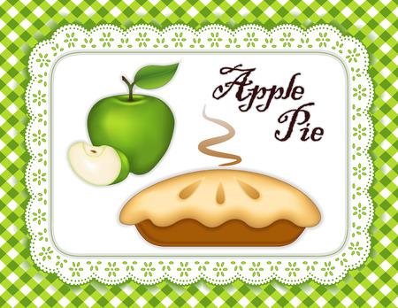 Granny Smith Green Apple Pie, geïsoleerd op wit oogje kanten kleedje placemat, gingangcontrole Vector Illustratie