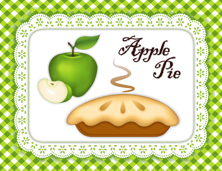 Granny Smith Green Apple Pie, isolated on white eyelet lace doily place mat, gingham check background