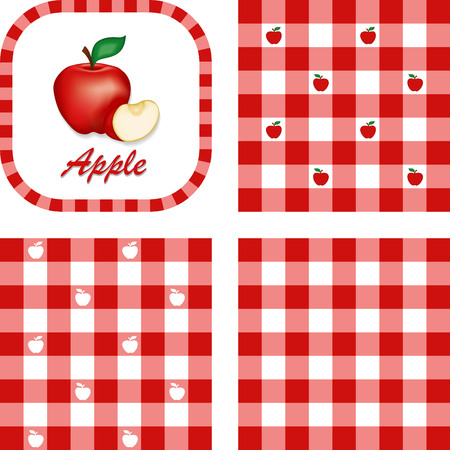 gingham: Red apples in label frame with gingham check seamless background pattern tiles in three styles  Illustration