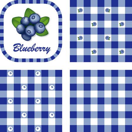 세 가지 스타일의 깅엄 체크 원활한 배경 무늬 타일 레이블 프레임에 블루 베리 스톡 콘텐츠 - 22898824