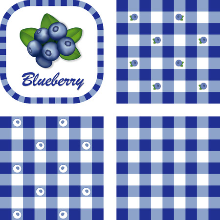 Blueberries in label frame with gingham check seamless background pattern tiles in three styles