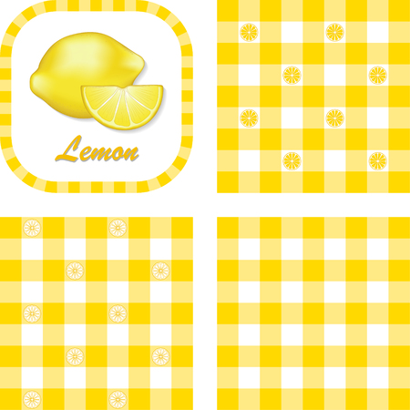 Lemons in label frame with gingham check seamless background pattern tiles in three styles Stock Vector - 22898825