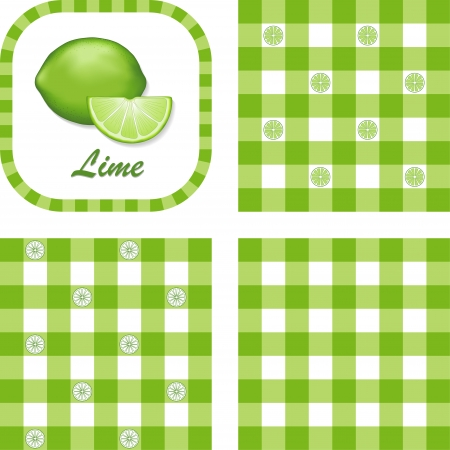 Limes in label frame with gingham check seamless background pattern tiles in three styles