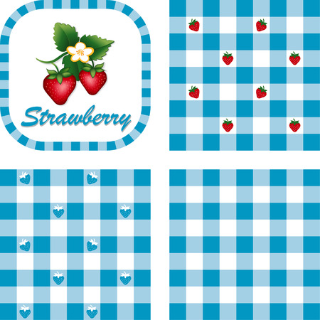 Strawberries in label frame with gingham check seamless background pattern tiles in three styles Stock Vector - 22898828