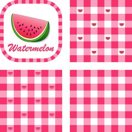 Watermeloen in etiket frame met gingangcontrole naadloze achtergrond patroon tegels in drie stijlen Stockfoto - 22898827