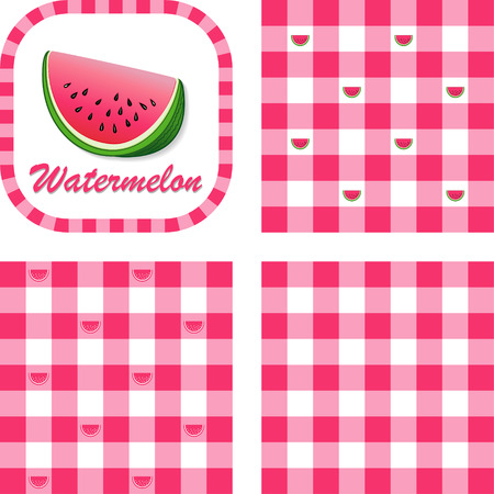 Watermelon in label frame with gingham check seamless background pattern tiles in three styles Vector