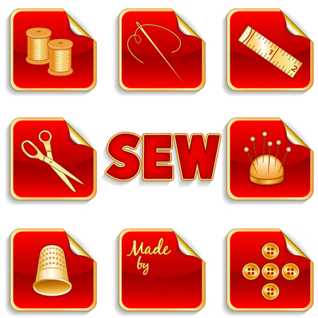 old spools: Sewing Stickers for Do It Yourself projects, tailoring, needlework, dressmaking  needle, thread, scissors, pin cushion, thimble, buttons, tape measure, label, gold and red gradient background   Illustration