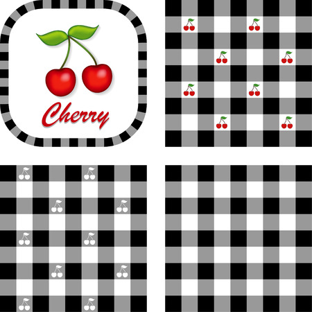 Cherries, Label frame, gingham check seamless pattern swatches in 3 styles   Vector