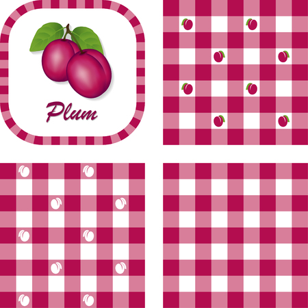 Plums, Label frame, gingham check seamless pattern swatches in 3 styles   Vector