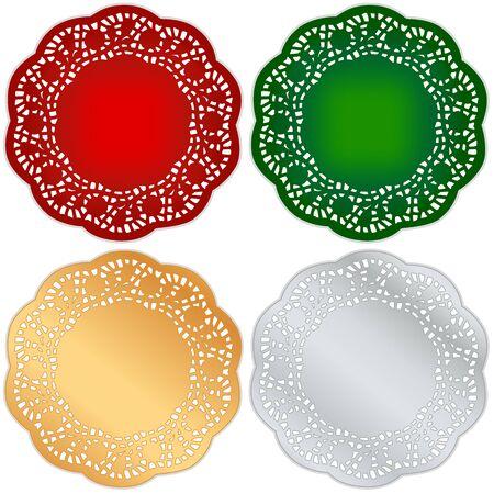 레이스 냅킨의 식탁 깔개, 빨강, 녹색, 금,은 빈티지 크리스마스 디자인 및 휴일, 흰색으로 격리