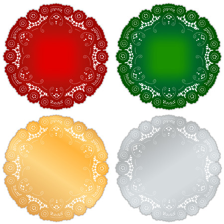 Lace doily placemats, vintage design for Christmas and holiday in red, green, gold, silver, isolated on white   Vector