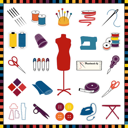 sewing: Sewing, tailoring, needlework, dressmaking, crafts, multicolor icons  for do it yourself projects and hobbies, isolated on white, check frame border