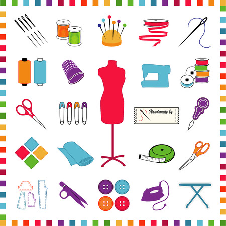kit de costura: Costura, sastrería, costura, corte y confección, manualidades, iconos de colores pastel para hágalo usted mismo los proyectos y aficiones, aislados en blanco, compruebe borde del marco