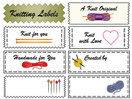 empty space for text: Knitting Sewing Labels with yarn, wool, skeins, wood needles, marker pins, heart, love, copy space to add name, for original, handmade, homemade, do it yourself knit crafts and hobbies isolated on white background