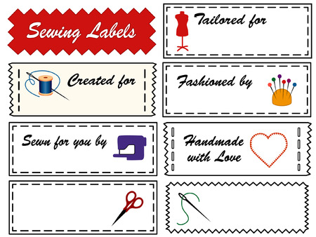 space needle: Sewing Labels with tailor s model dress form, needle, thread, pincushion, sewing machine, heart, love, scissors, with copy space to add name for  tailoring, fashion, couture, modeling, dressmaking, do it yourself crafts isolated on white background