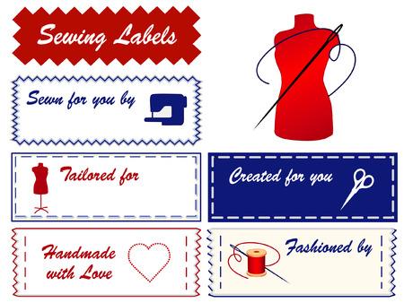 notions: Etiquetas de coser con maniqu� de moda, tijeras, m�quina de coser, aguja, hilo, coraz�n, amor, con copia espacio para agregar el nombre de la costura, sastrer�a, costura, el modelado, corte y confecci�n, h�galo usted mismo artesan�as aislados sobre fondo blanco Vectores