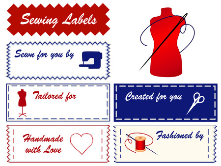 Sewing Labels with fashion mannequin, scissors, sewing machine, needle, thread, heart, love, with copy space to add name for sewing, tailoring, couture, modeling, dressmaking, do it yourself crafts isolated on white background  Stock Illustratie