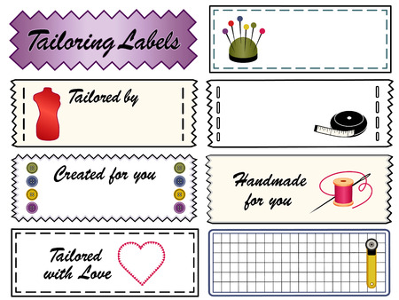 Tailoring Sewing Labels with fashion model, tape measure, scissors, needle, thread, cutting mat, rotary cutter, pincushion, heart, love, copy space to add name for original, handmade, homemade, do it yourself crafts and hobbies isolated on a white backgro Vector