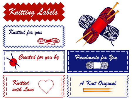 Knitting Sewing Labels with yarn, wool, skeins,  wood needles, copy space to add name, heart, love, for original, handmade, homemade, do it yourself knit crafts and hobbies isolated on a white background   Vector