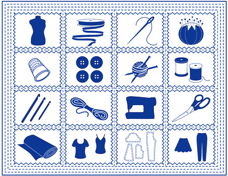 Sewing, Tailoring, Knit, Crochet, Craft Icons with blue stitch frame border isolated on white background  Vector