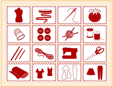 Sewing, Tailoring, Knit, Crochet, Craft Icons with gold stitch frame border isolated on white background  Vector
