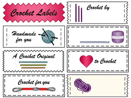Etichette Crochet cucire con copia spazio da personalizzare per uncinetto, chiacchierino, merletto e fatti a mano fai da te progetti di moda Archivio Fotografico - 24058947