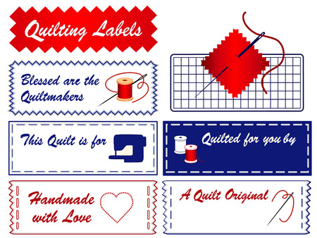personalize: Quilt Sewing Labels, copy space to customize with your name for quilting, patchwork, do it yourself crafts, hobbies, isolated on white background