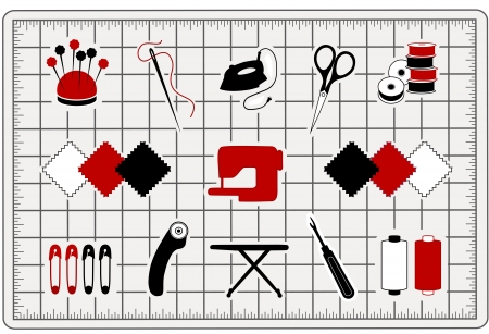 Quilt, patchwork, stitchery, applique, sewing, do it yourself craft and hobby icons isolated on cutting mat  Illustration