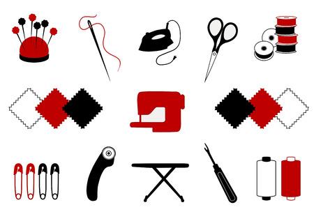 Quilt, patchwork, stitchery, applique, naaien, doe het zelf ambacht en hobby iconen geïsoleerd op wit