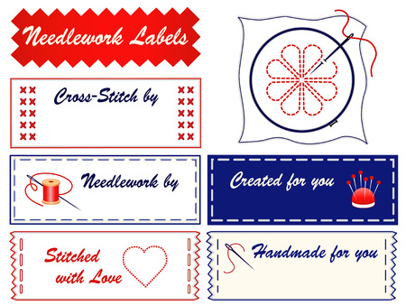crewel: Embroidery Sewing Labels for do it yourself fashion, crafts, needlepoint, applique, cross stitch with copy space to customize with your name