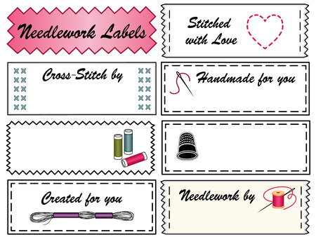 Embroidery Sewing Labels for do it yourself fashion, crafts, needlepoint, applique, cross stitch with copy space to customize with your name   Vector