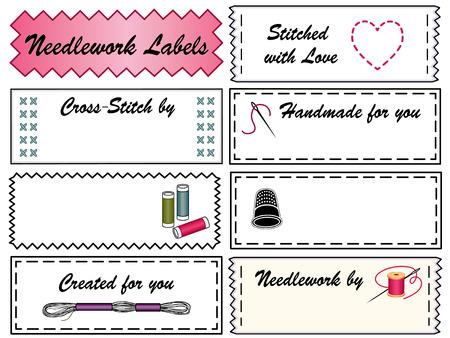 Sticken Nähen Etiketten für do it yourself-Mode, Kunsthandwerk, nadelspitze, Applikationen, Kreuzstich mit Kopie Raum, um mit Ihrem Namen Standard-Bild - 24526370