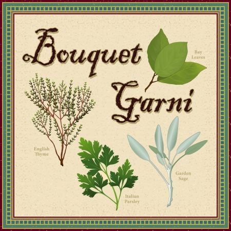 flat leaf: Bouquet Garni; classic French herb blend of Bay Leaves, English Thyme, Garden Sage, Italian Flat Leaf Parsley; distressed mosaic frame and background