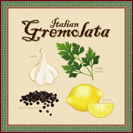 Gremolata; classic Italian condiment blend of Garlic, Italian Parsley, Lemon zest, cracked Black Peppercorns; distressed mosaic frame and background  Vector