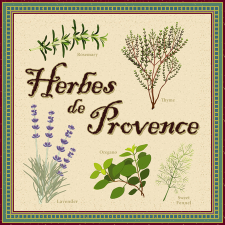 herbes: Herbes de Provence; Lavender, Rosemary, Thyme, Sweet Fennel, Oregano; aromatic herbs from southwest France; distressed mosaic frame and background  Illustration