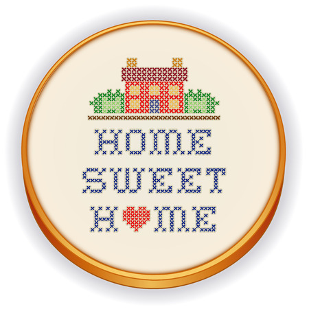 stitchery: Embroidery, Home Sweet Home, big red heart, decorative cross stitch needlework sewing design on fabric in retro wood hoop, house in landscape graphic