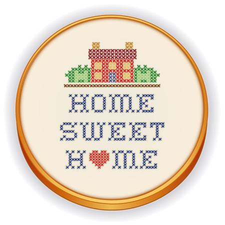 punto croce: Ricamo, Home Sweet Home, grande cuore rosso, decorazione disegno punto croce ricamo cucito su tessuto in stile retr� telaio di legno, casa in paesaggio grafico